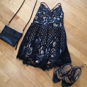 Express Black Lace Romper
